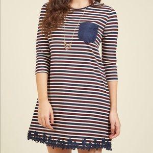 ⭐️NEW ARRIVAL Modcloth Striped Tunic Dress Navy M